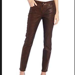 NYDJ Brwn Ganache Sheri Coated Stretch Skinny Jean
